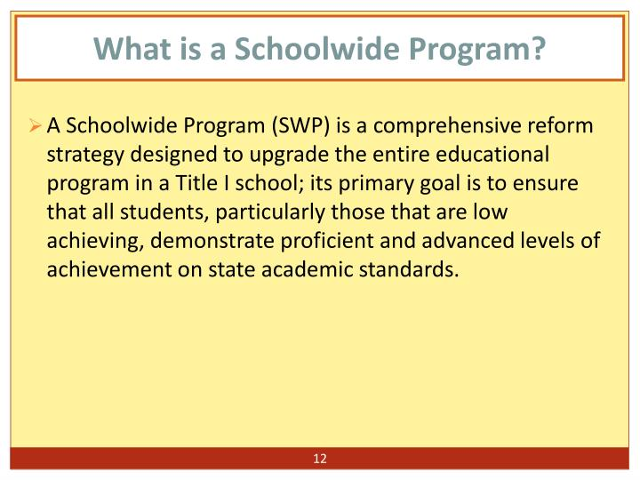 What is a Schoolwide Program?