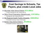 cost savings to schools tax payers plus create local jobs