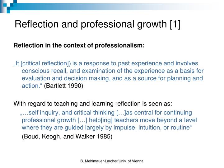 Reflection and professional growth [1]