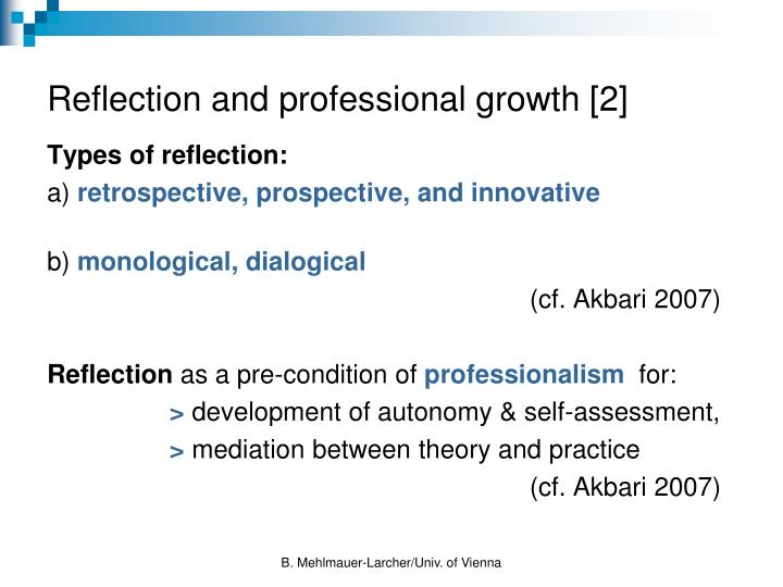 Reflection and professional growth [2]