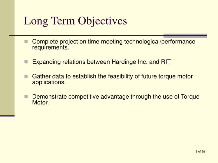 Long Term Objectives
