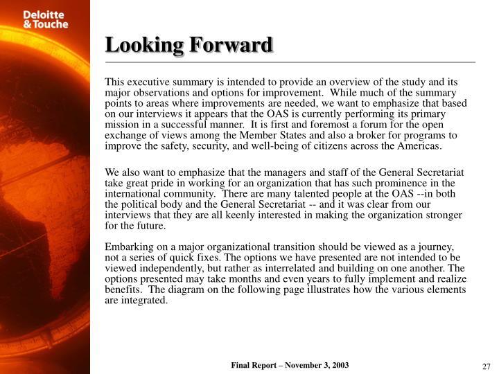 Looking Forward