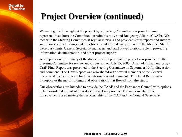 Project Overview (continued)