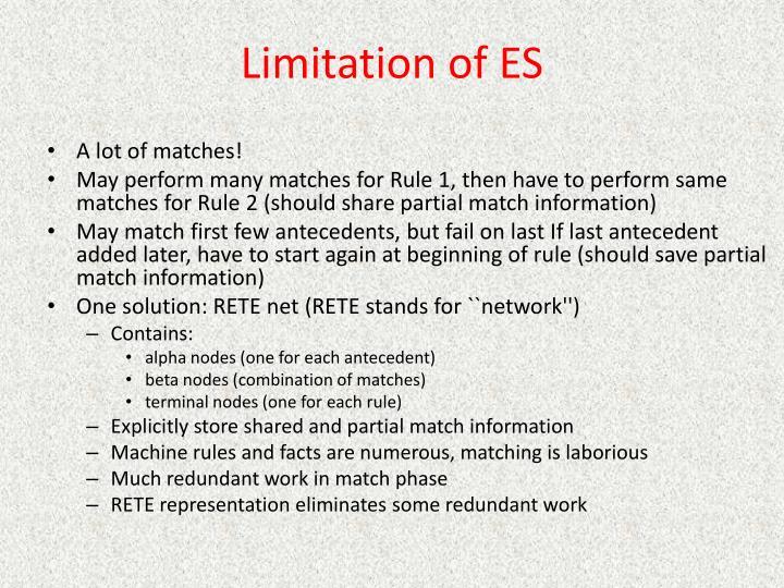 Limitation of ES