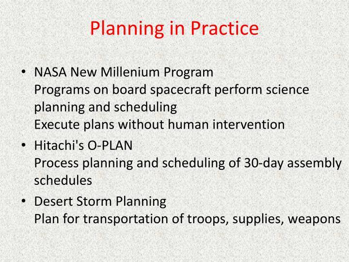 Planning in Practice