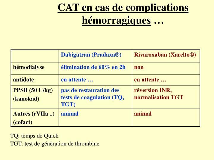 CAT en cas de complications hémorragiques
