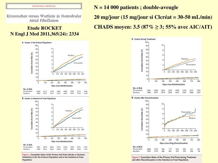 N = 14 000 patients ; double-aveugle