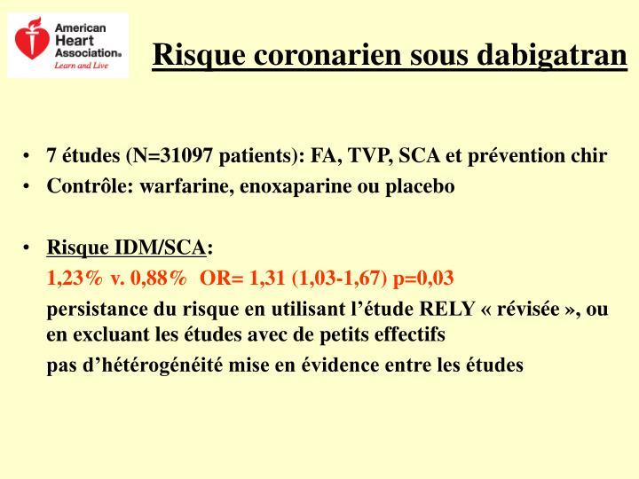 Risque coronarien sous dabigatran
