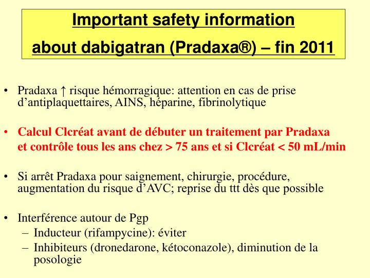 Important safety information