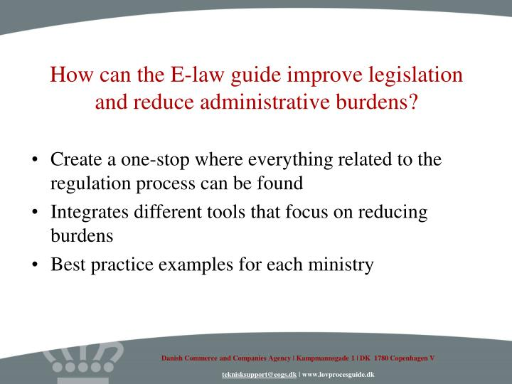 How can the E-law guide improve legislation and reduce administrative burdens?