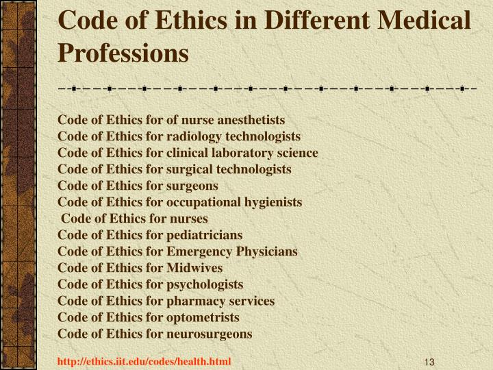 Code of Ethics in Different Medical Professions
