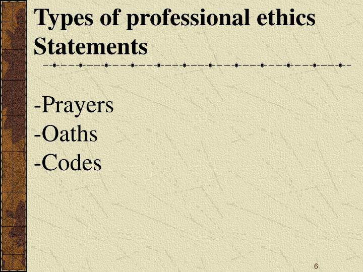 Types of professional ethics