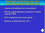 treatment of life insurance and funds management businesses
