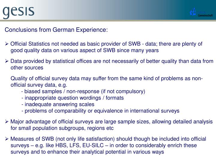 Conclusions from German Experience: