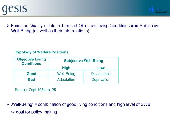  Focus on Quality of Life in Terms of Objective Living Conditions