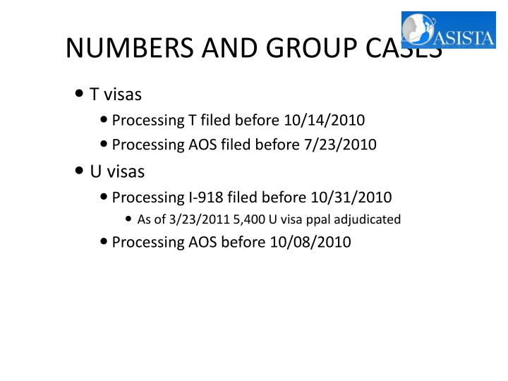 NUMBERS AND GROUP CASES