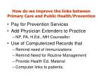 how do we improve the links between primary care and public health prevention