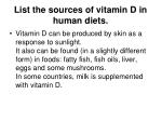 list the sources of vitamin d in human diets