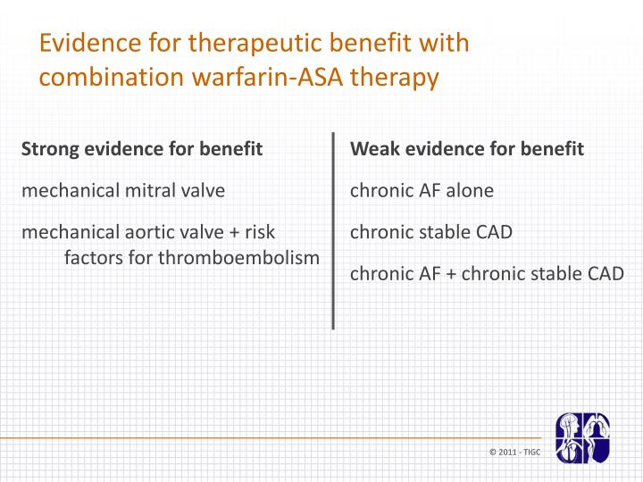 Evidence for therapeutic benefit with combination warfarin-ASA therapy