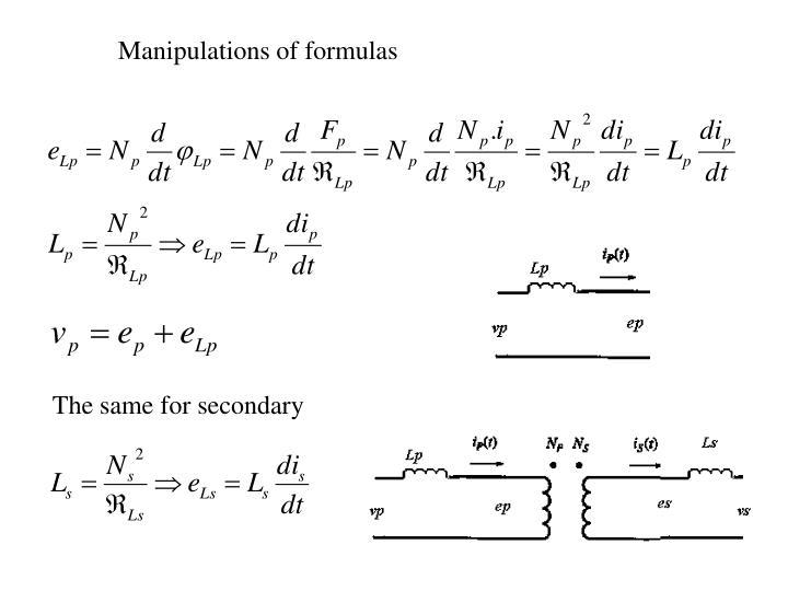 Manipulations of formulas