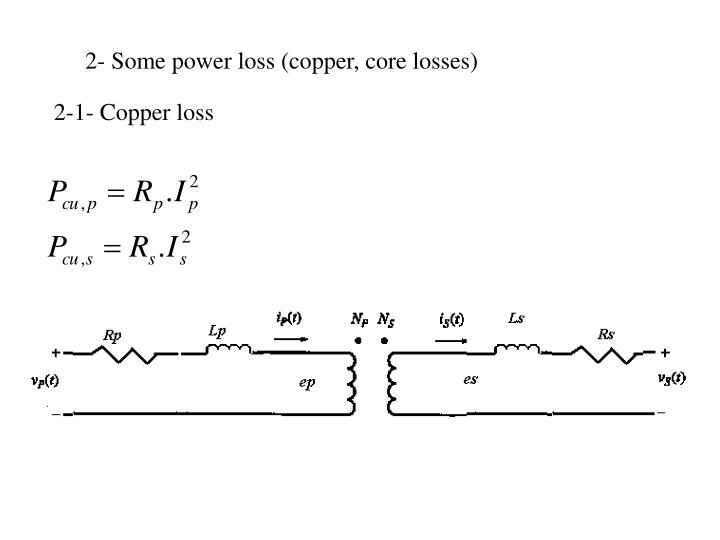 2- Some power loss (copper, core losses)