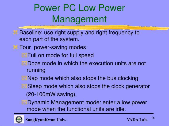 Power PC Low Power Management