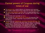 formal powers of congress during times of war