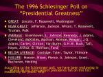 the 1996 schlesinger poll on presidential greatness