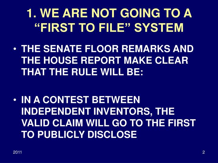 1 we are not going to a first to file system