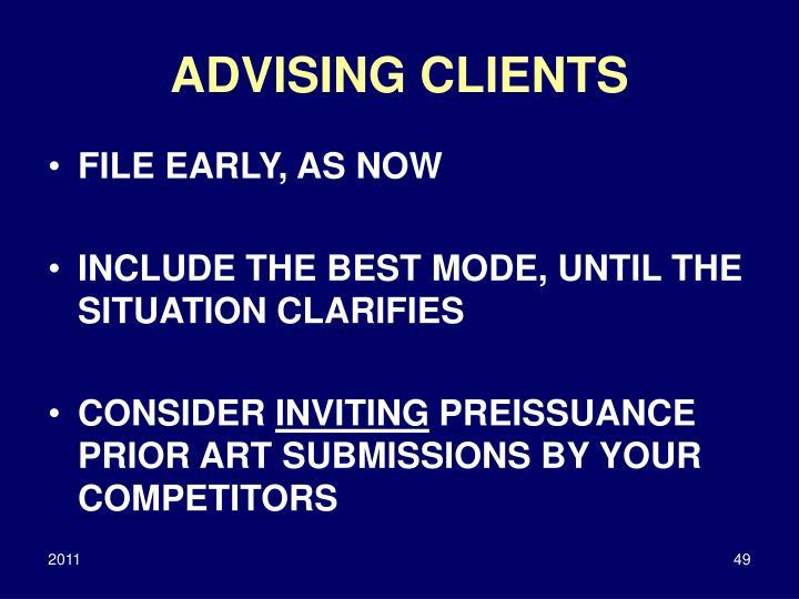 ADVISING CLIENTS