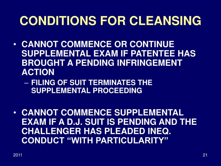 CONDITIONS FOR CLEANSING