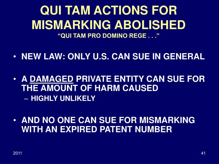 QUI TAM ACTIONS FOR MISMARKING ABOLISHED