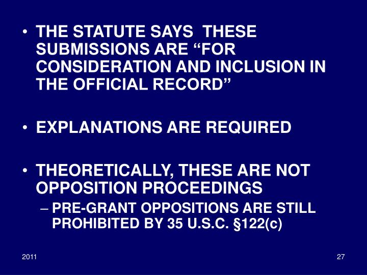 """THE STATUTE SAYS  THESE SUBMISSIONS ARE """"FOR CONSIDERATION AND INCLUSION IN THE OFFICIAL RECORD"""""""