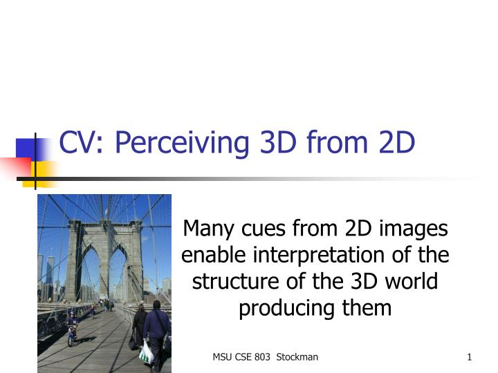 cv perceiving 3d from 2d n.