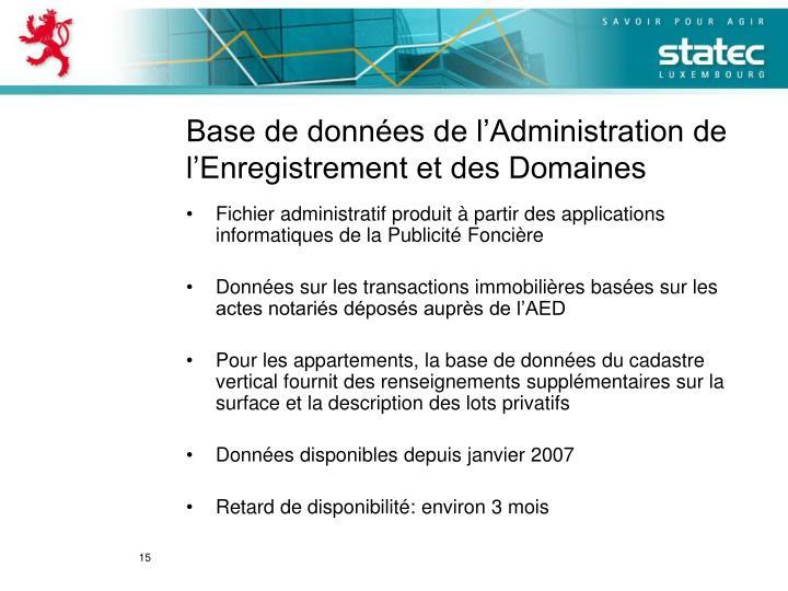 Base de données de l'Administration de l'Enregistrement et des Domaines