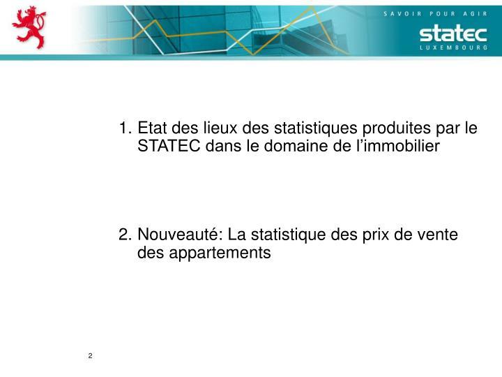 Etat des lieux des statistiques produites par le STATEC dans le domaine de l'immobilier