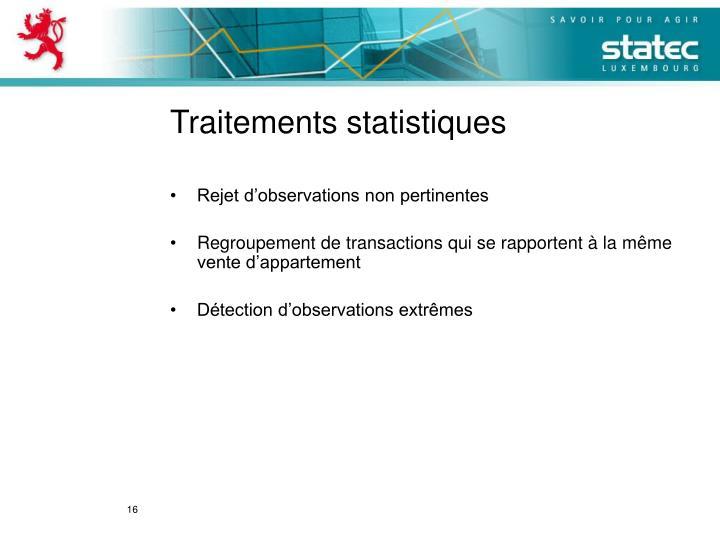 Traitements statistiques