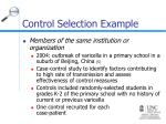 control selection example1