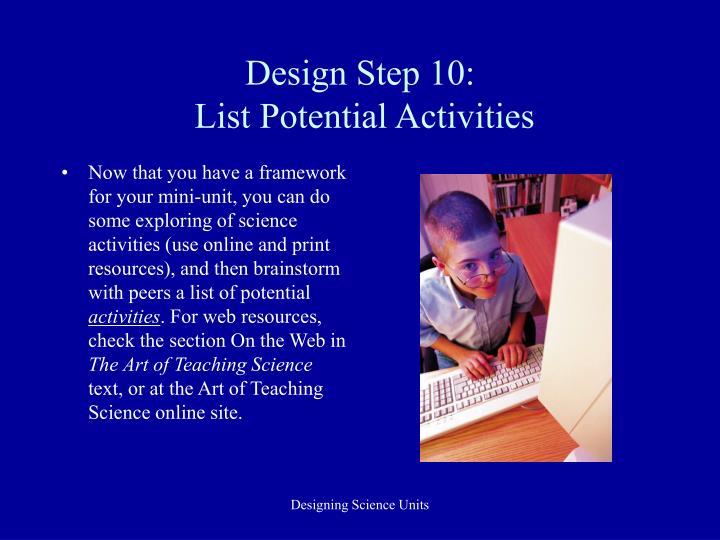 Design Step 10: