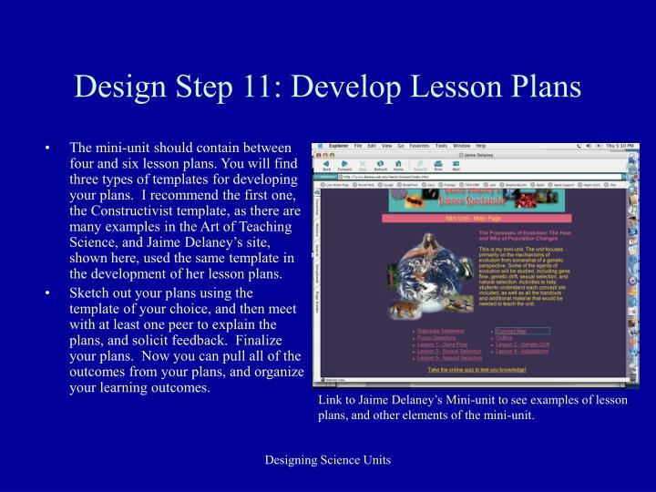 Design Step 11: Develop Lesson Plans