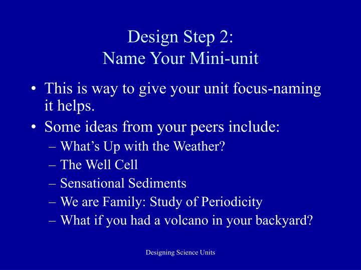 Design Step 2: