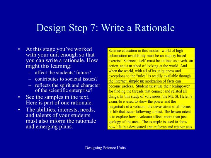 Design Step 7: Write a Rationale