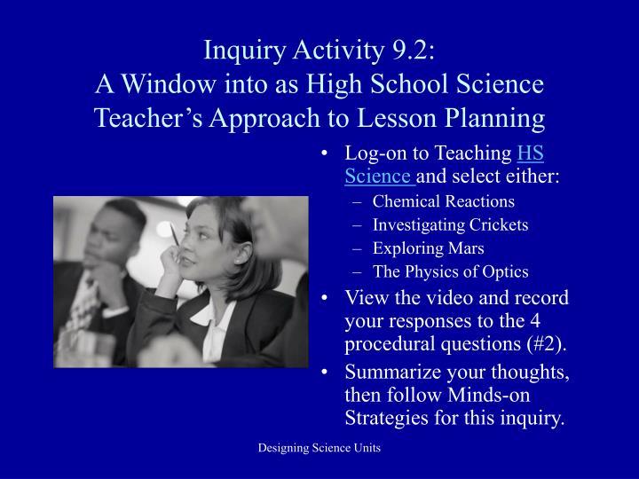 Inquiry Activity 9.2: