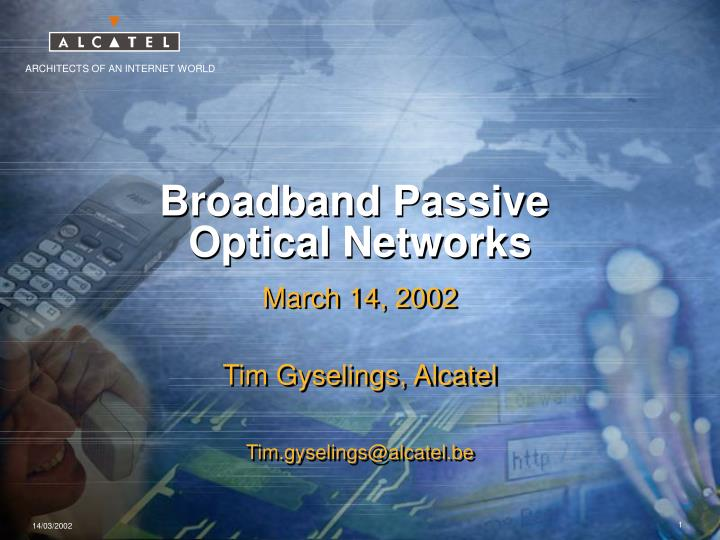 broadband passive optical networks n.