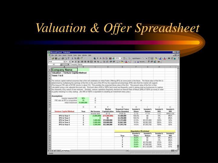 Valuation & Offer Spreadsheet