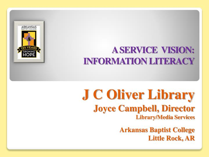 a service vision information literacy n.