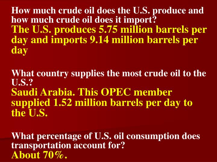 How much crude oil does the U.S. produce and how much crude oil does it import?