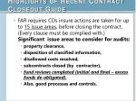 highlights of recent contract closeout guide1