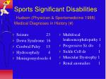 sports significant disabilities hudson physician sportsmedicine 1988 medical diagnoses in history