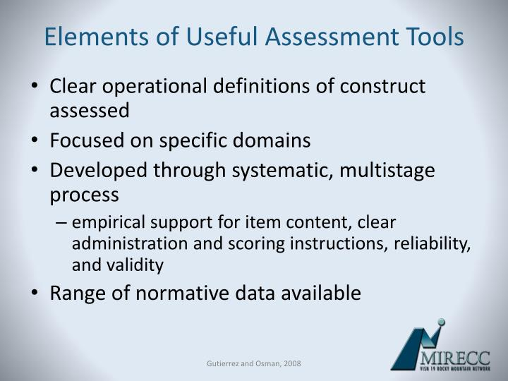 Elements of Useful Assessment Tools